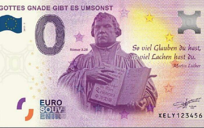 Eiro banknote ar Mārtiņu Luteru
